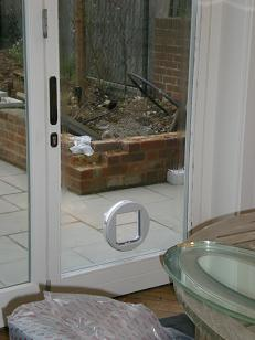 Cat Flap in a double glazed door, Maidstone, Kent